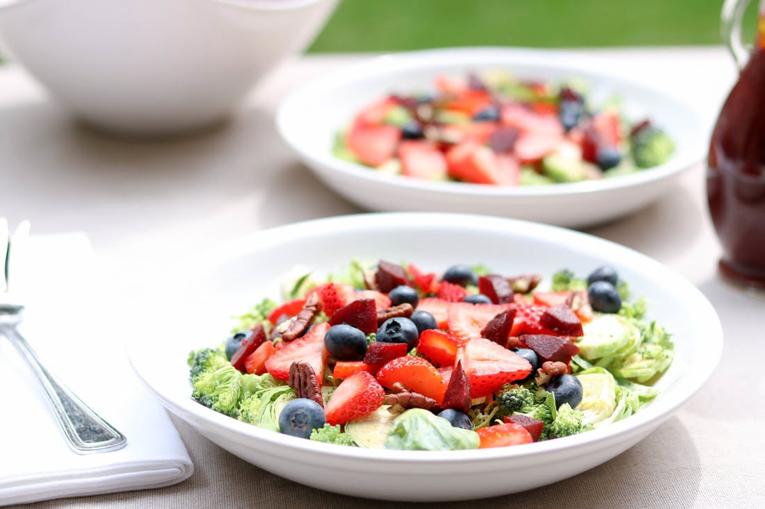 Berry Broccoli Brussels Salad with Cherry Balsamic Vinaigrette (GF, DF)
