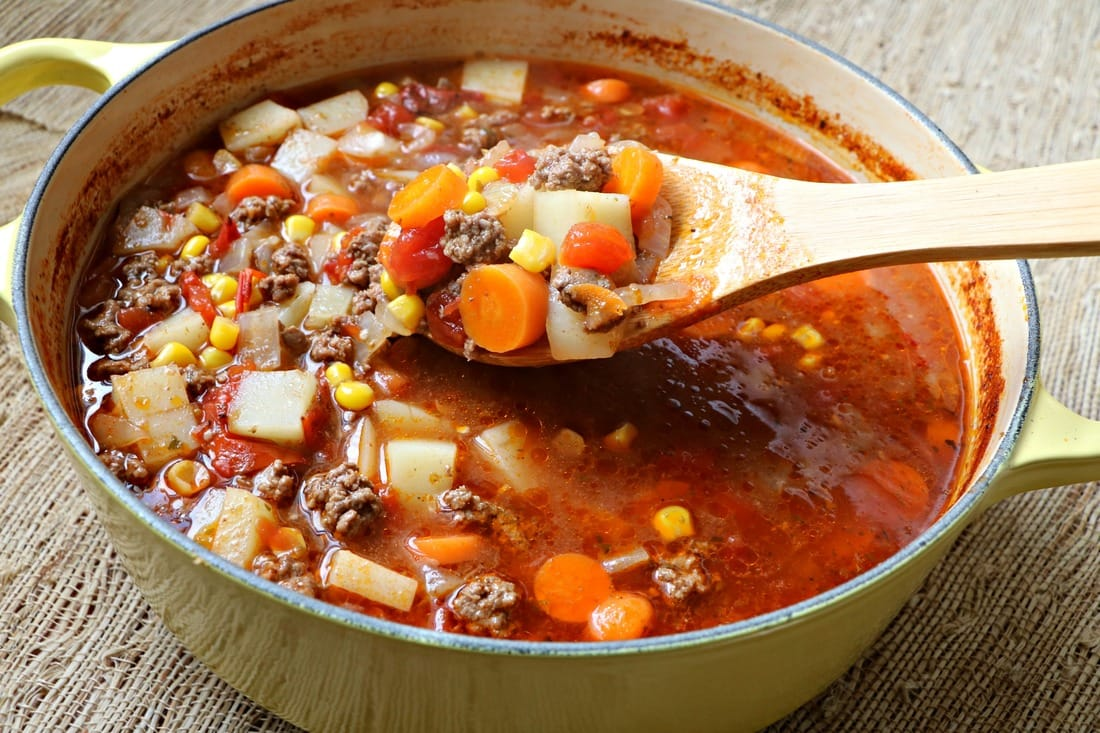 Beef and Vegetable Soup, Gluten Free, Dairy Free, Under 30 minutes