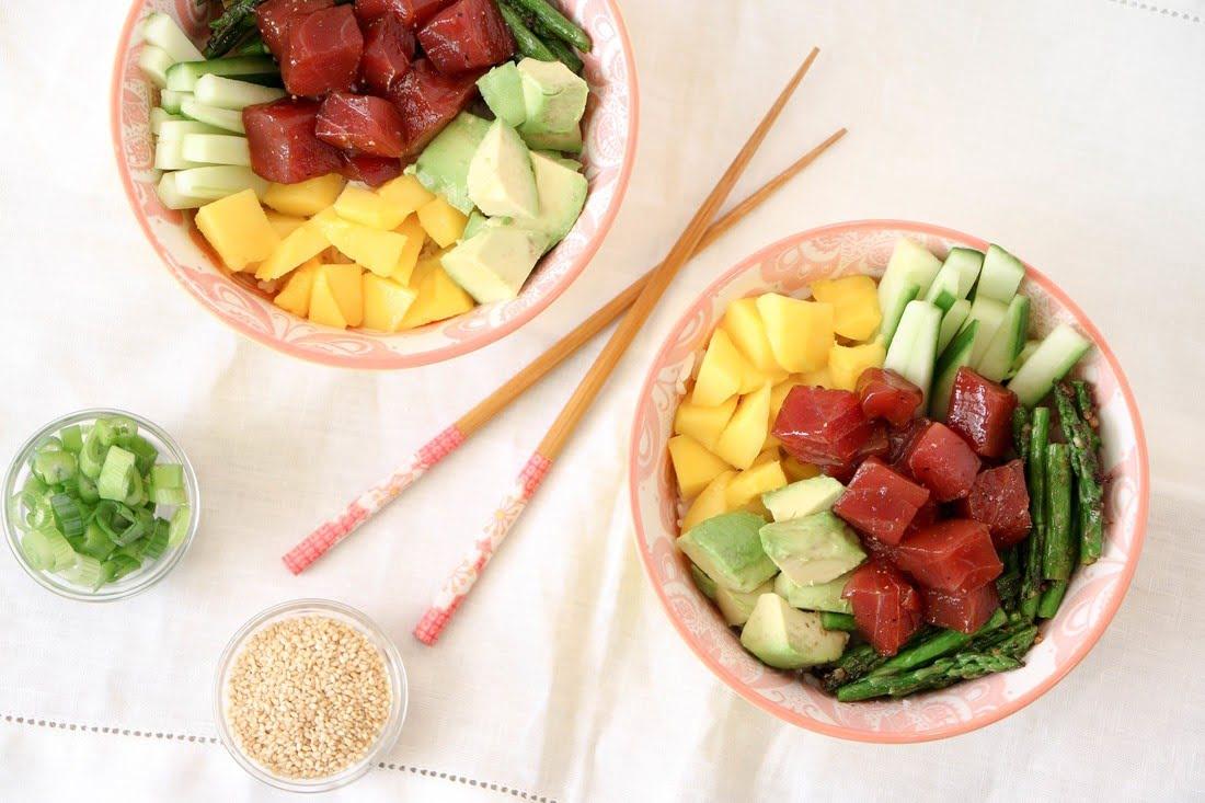 Ahi Tuna Mango Poke Bowl (GF, DF)