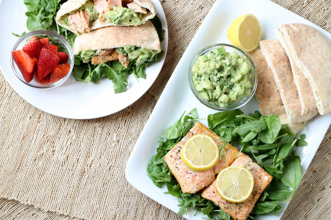Citrus Herb Salmon Pockets with Cucumber Avocado Salad