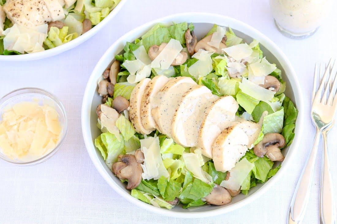 Chicken Mushroom Caesar Salad