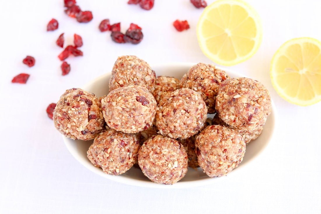 Cranberry Lemon Energy Bites