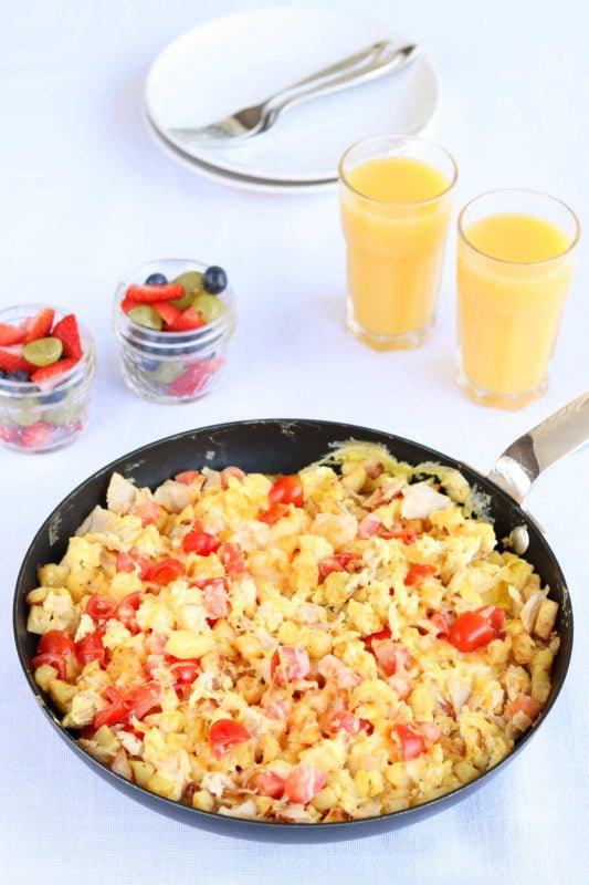 Easy Breakfast Scramble with fruit