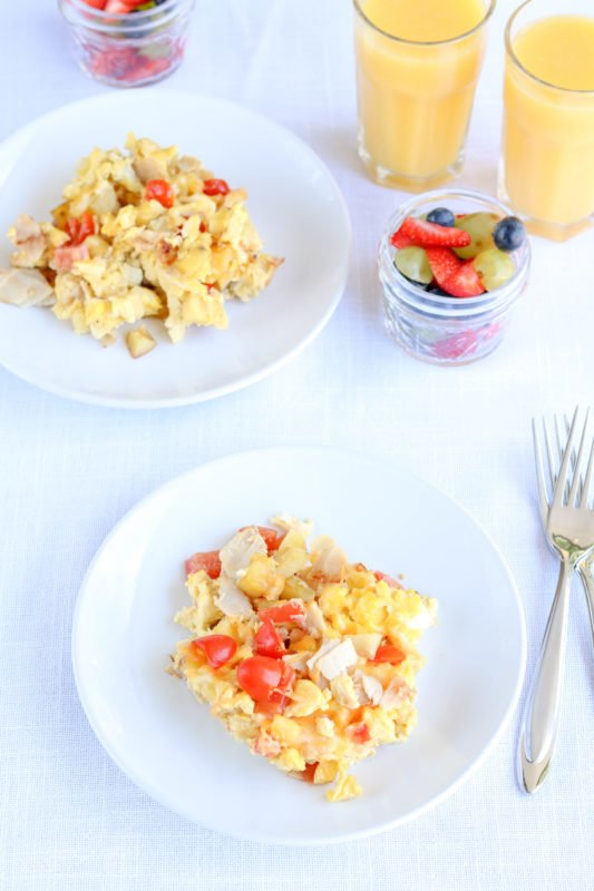 Easy Breakfast Scramble with fruit and juice