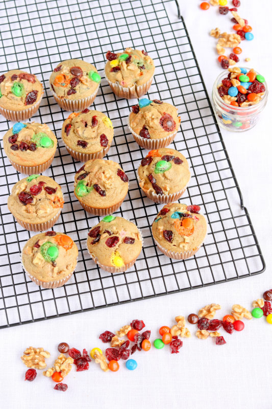 Muffins with Cranberries, Walnuts and M&Ms