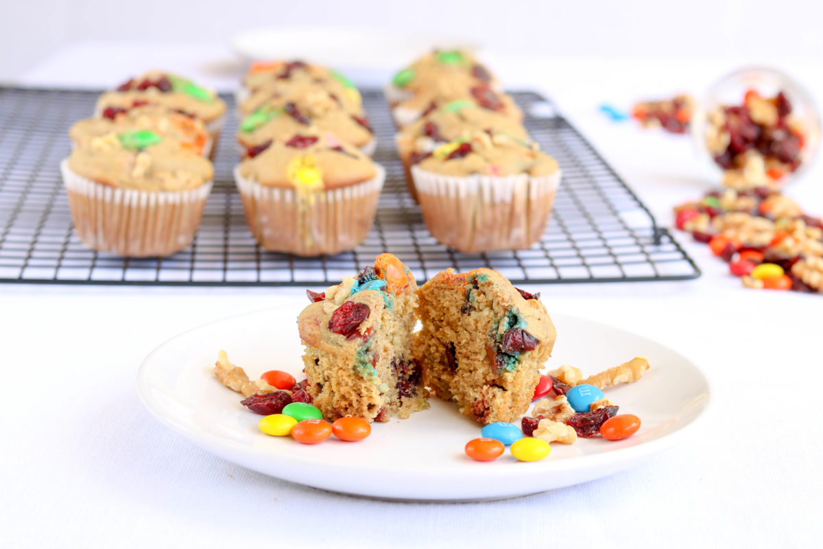 Gluten-free Trail Mix Muffins with Cranberries, Walnuts and M&Ms