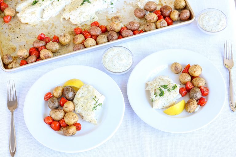 Cod Sheet Pan with Potatoes and Tomatoes