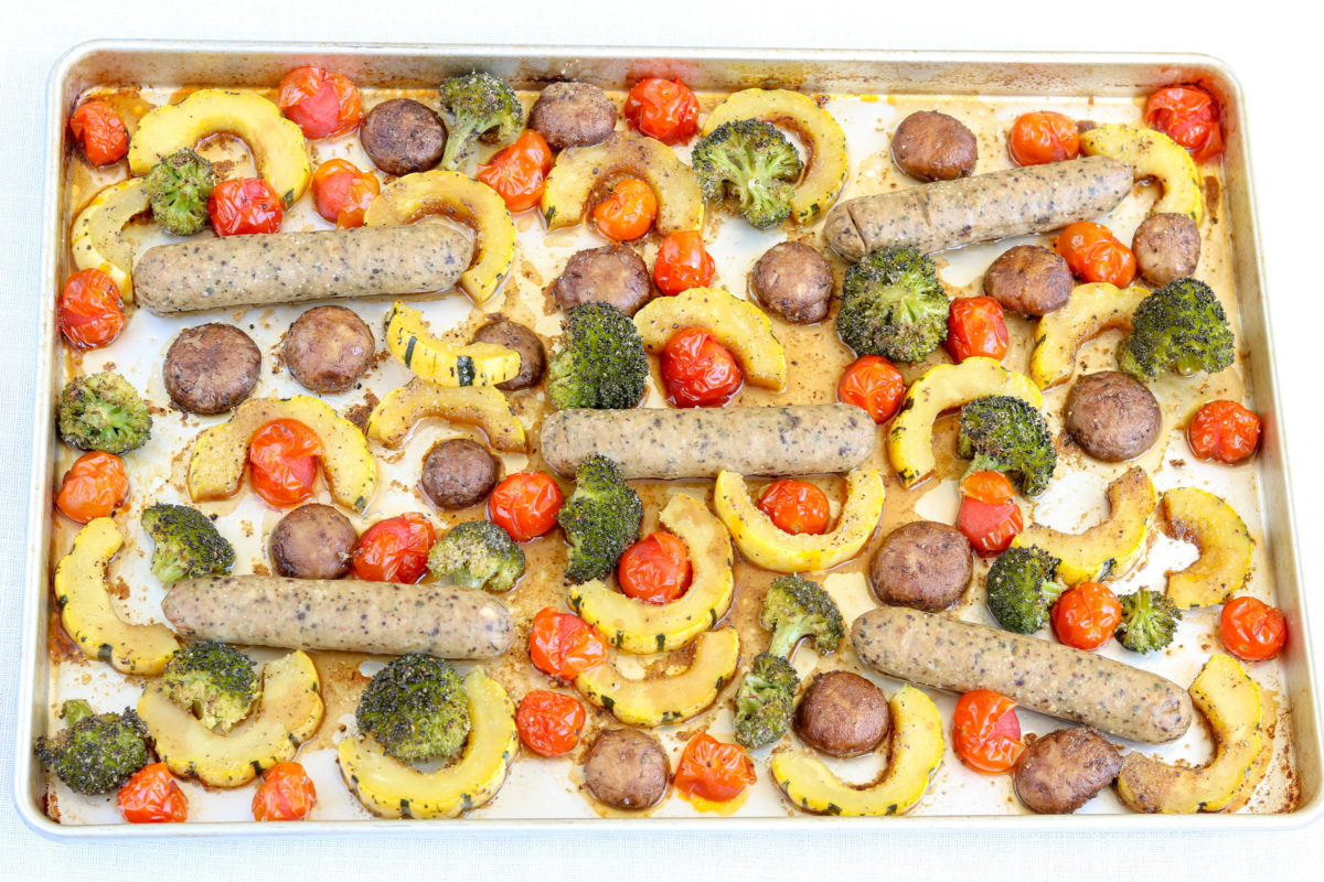 Chicken Sausage and Fall Veggie Sheet Pan Meal