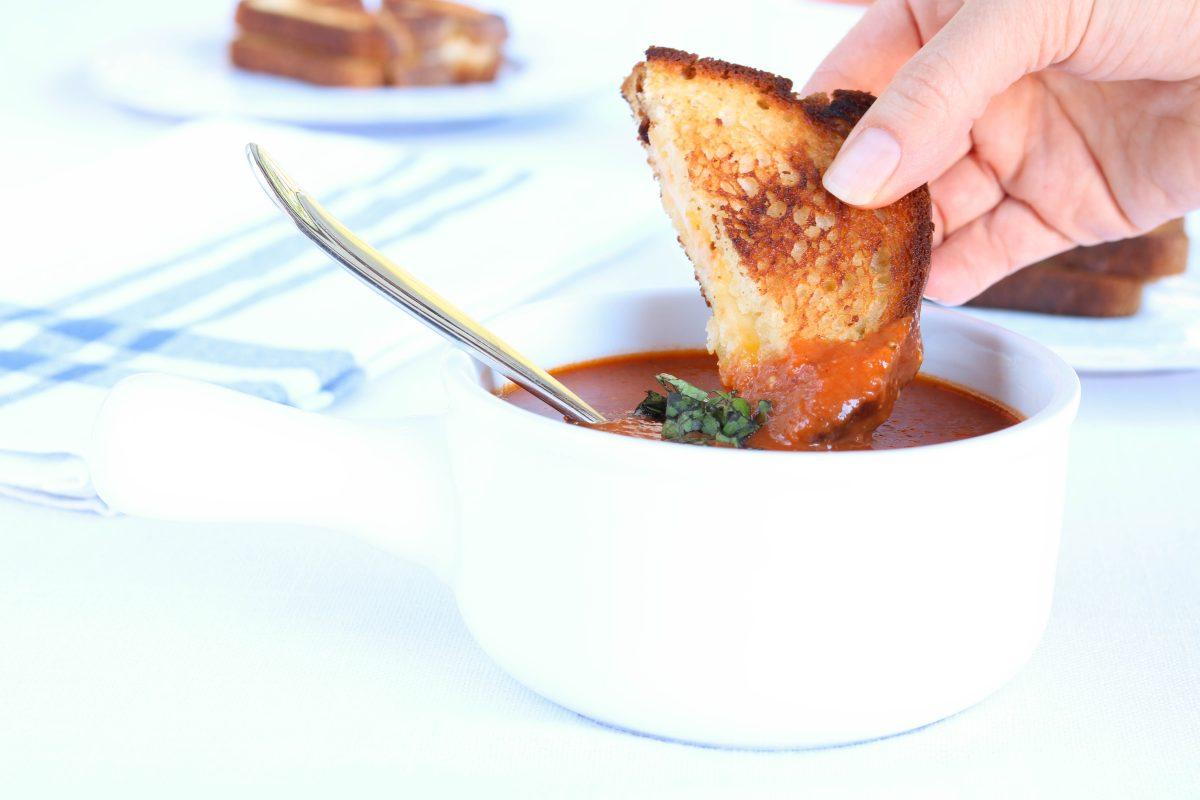 Grilled Cheese Dipped in Tomato Soup