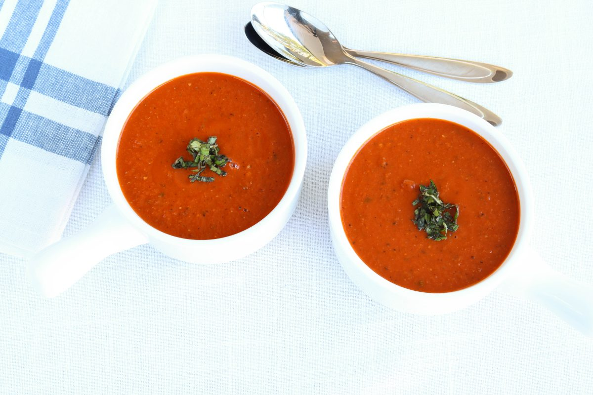 Dairy-Free Tomato Soup with fresh basil