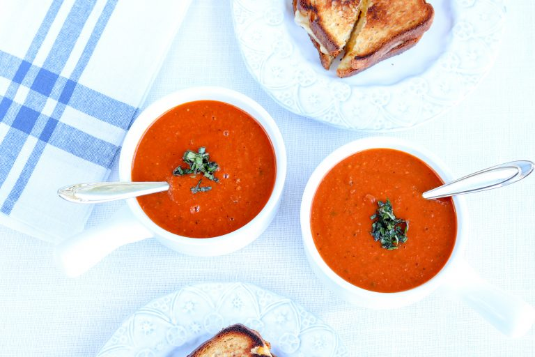 Instant Pot Tomato Soup with gluten-free grilled cheese