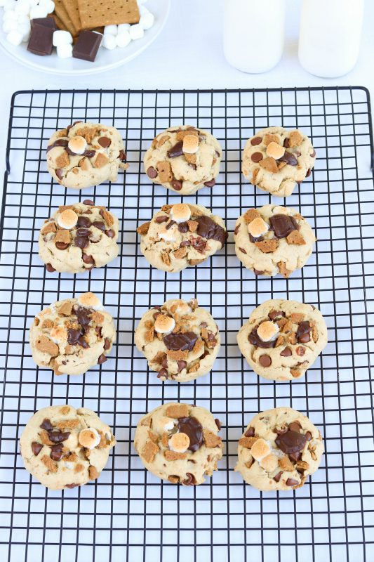 Gluten-Free S'mores Cookies with vegan marshmallows and gluten-free graham crackers